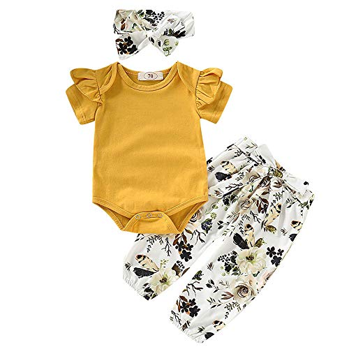 (3PCS Infant Toddler Baby Girl Summer Clothes Ruffle Romper Top Long Sleeve Bodysuit + Floral Pants + Headband Outfit Set (Yellow & A, 0-6 Months))