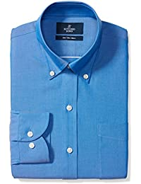 Amazon Brand - BUTTONED DOWN Men's Slim Fit Button-Collar Solid Pinpoint Dress Shirt, Supima Cotton Non-Iron