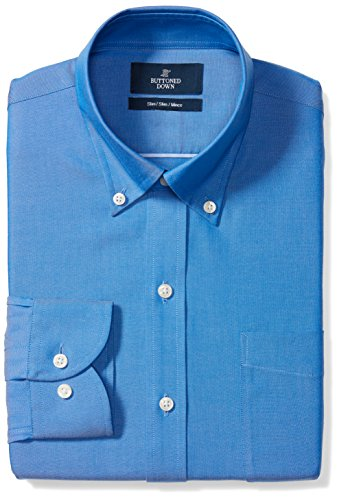 BUTTONED DOWN Men's Slim Fit Button-Collar Solid Non-Iron Dress Shirt (Pocket), French Blue, 16.5