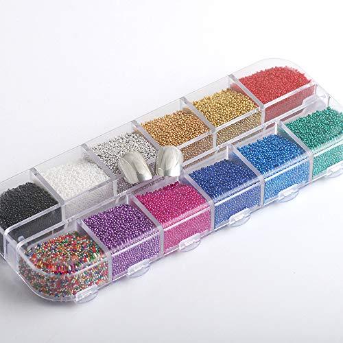 12 Colors 1Box Micro Ball Micro Crystal Nail Caviar Beads Glass Trend Caviar Nail Art Decorations Tips Nail Art Set