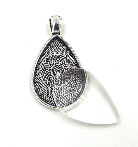 12 Deannassupplyshop 20X30mm teardrop oval Pendant Trays with glass Antique Silver 20X30mm - Pendant Blanks Cameo Bezel Settings Photo Jewelry - Custom Jewelry Making (Drop Cameo)