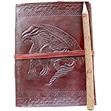 Incredible Antique Arts Handmade Vintage Embossed Flying Single Dragon With Leather Strap Closure Leather Journal Note Book Diary (7 x 5)