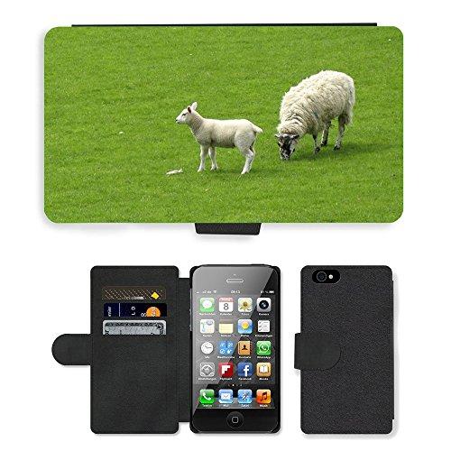 Just Phone Cases PU Leather Flip Custodia Protettiva Case Cover per // M00127291 Sheep Lamb prairie d'herbe de pâturage // Apple iPhone 4 4S 4G