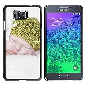TopCaseStore / la caja del caucho duro de la cubierta de protección de la piel - Sweet Cute White Mother - Samsung GALAXY ALPHA G850