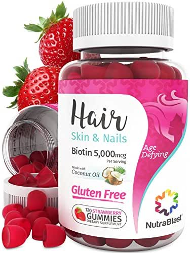 NutraBlast Biotin 5000 mcg Enhanced with Coconut Oil - Hair, Skin and Nails Vitamins - Made in USA (120 Strawberry Gummies)