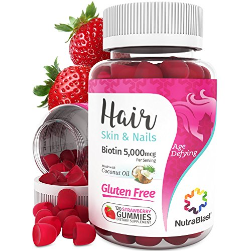 (NutraBlast Biotin 5000 mcg Enhanced with Coconut Oil - Hair, Skin and Nails Vitamins - Made in USA (120 Strawberry Gummies))