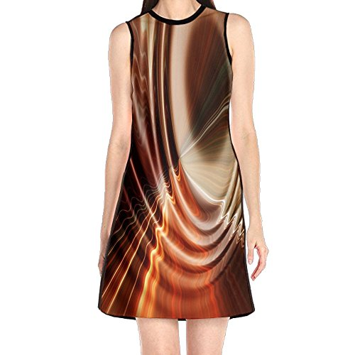 MONILO Water Texture Abstract Women's Sexy Sleeveless Mini Dress Print Party Dress Tank (Abstract Print Mini Dress)