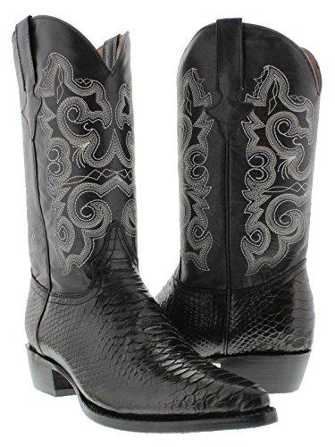 Team West - Men's Black Python Snake Print Leather Cowboy Boots 11.5 2E ()