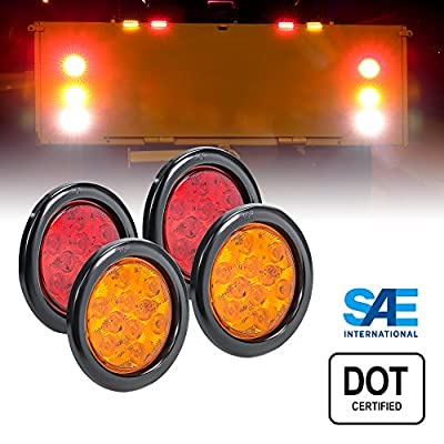 "2 Amber + 2 RED 4"" Round LED Trailer Tail Light Kit - DOT Certified Stop Turn Brake Tail Light"