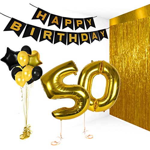 50th Happy Birthday Gifts Ideas Banners for Golden Anniversary Wedding Bday Decorations Balloons Photo Booth Props and Fabulous Decor Hollywood -