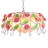 LgoodL Idyllic Modern Wrought Iron Decorated with Pink Flower Chandelier Contemporary Garden Lamps Pink Ceramic Rose Dinner Room Livingroom 3 Lights