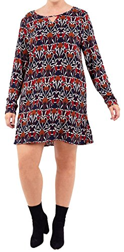 12 Click Navy New Floral Womens Plus Dress Selfie All Mini Neck Cut 18 Size Swing Out V Over Printed Front Shift wBwqTnxrH