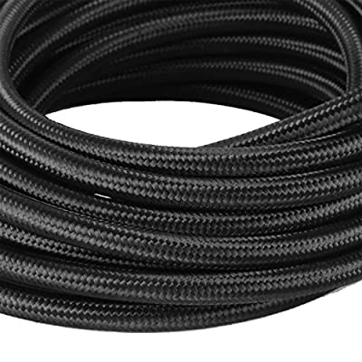 Happybuy 6AN 32.8FT Stainless Steel Nylon Braided Oil Gas Fuel Line Hose 10M BK + 20 PCS Aluminum Hose End Fitting Adapter Kit Fuel Line Kit (AN6): Automotive