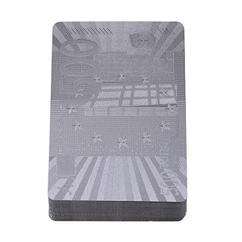 MagiDeal 1デッキ防水プラスチックユーロスタイルシルバー箔ポーカーカードパーティー楽しいおもちゃ