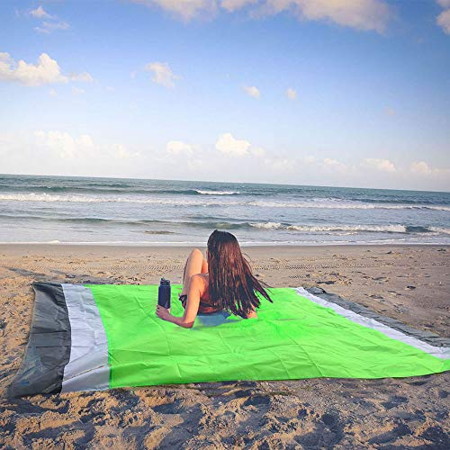 (YESAND Sand Free Beach Blanket Oversize Waterproof Beach Mat Compact Outdoor Travel Blanket Quick Dry and Easy Clear Picnic Mat (82