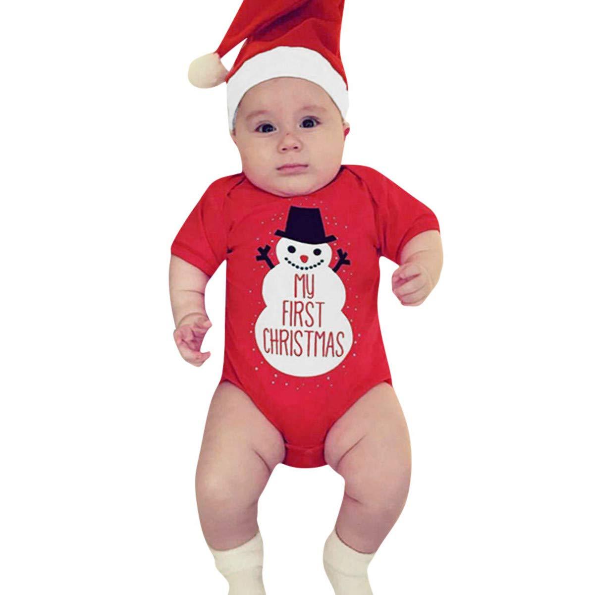 Robemon Noël Vêtement Enfant Dessin Animé Bonhomme Impression Barboteuse+ Chapeau 2Pcs Ensemble Bébé Combinaison6-24Mois