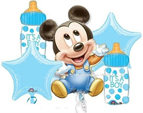 MICKEY MOUSE BABY SHOWER BALLOONS BOUQUET DECORATIONS SUPPLIES (2 BOUQUETS INCLUDED, 10 (Baby Mickey Mouse Baby Shower)