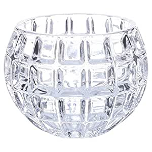 Tommy'sCreativeLifestyle Decorative Glass Bowl/Flower Pot with Grid Surface - Transparent