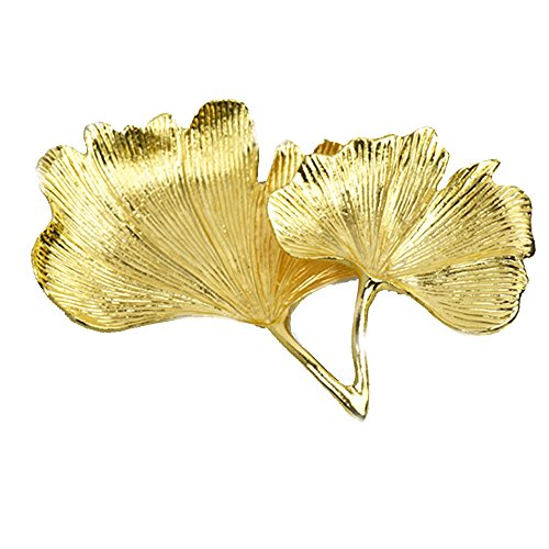 2 Tier Small Gold Jewelry Tray Ginkgo Biloba Leaf Decorative Galvanized Metal Display Tray Desk Table Makeup Organizer Hot Tub Storage Tray for Ring Necklace Container (Gold Ginkgo) - Leaf Lacquer