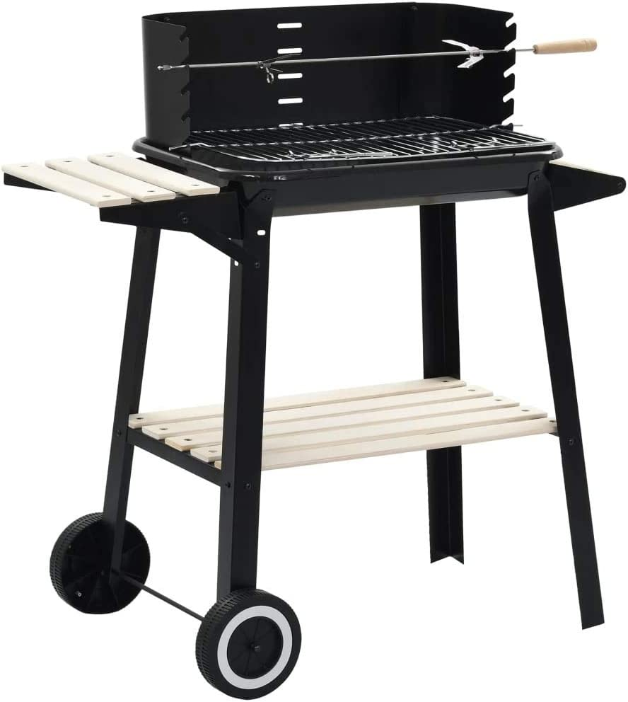 vidaXL Charcoal BBQ Stand with Wheels Black Steel Wood Grill Smoker Stand