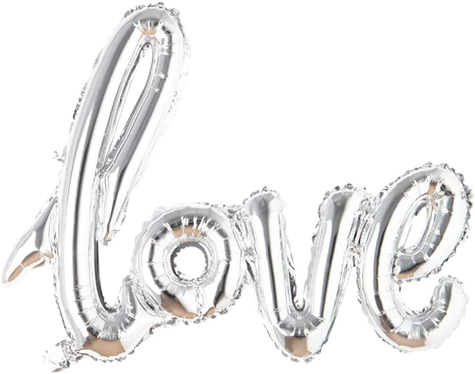 Giant Multicolor Love Letter Foil Balloons Champagne Love Balloon, Wedding Party Decoration Valentines Day Gift Marriage Decor (Silver)