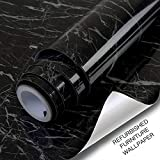 Marble Paper Self Adhesive Vinyl Film for Furniture Decorative Matte Granite Wallpaper Back Plastic Roll Wallpaper for Table Kitchen Bathroom Countertop (17.71' x 78.7', Light Black+Brown)