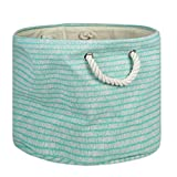 DII Collapsible Polyester Storage Basket or Bin with Durable Cotton Handles, Home Organizer Solution for Office, Bedroom Closet, Toys, Laundry, Medium Round, Aqua