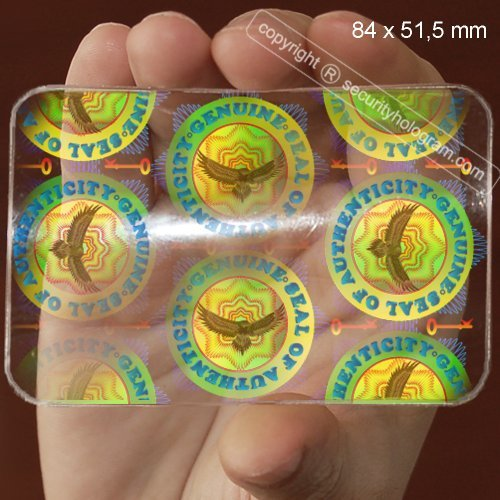 Vertical Overlay - 6 ID Cards Security Hologram Horizontal or Vertical Overlay Stickers with Micro Secure Technology SHID-15