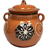 Lead Free Clay Bean Pot with Lid - Olla Floreada con Tapa - 3.5 qt