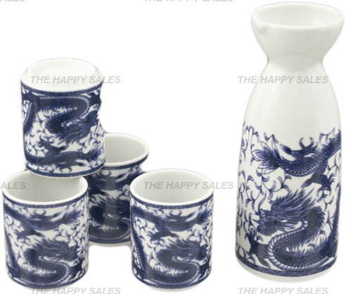 Happy Sales HSSS-DRG11, Royal Dragon Sake Set, White and Blue