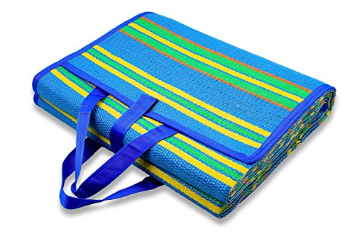 Camco-Handy-Mat-with-Strap-Perfect-for-Picnics-Beaches-RV-and-Outings-Weather-Proof-and-MoldMildew-Resistant-BlueGreen-72-x-108-42814