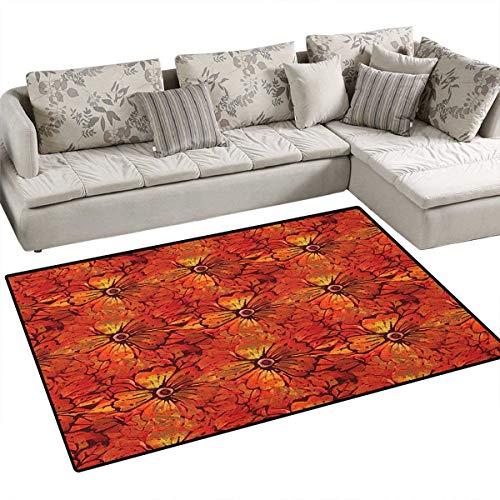 Batik,Carpet,Grungy Distressed Nostalgic Victorian Style Flower Petals Romantic Female Retro Design,Area Silky Smooth Rugs,Orange (Union Distressed Belt)