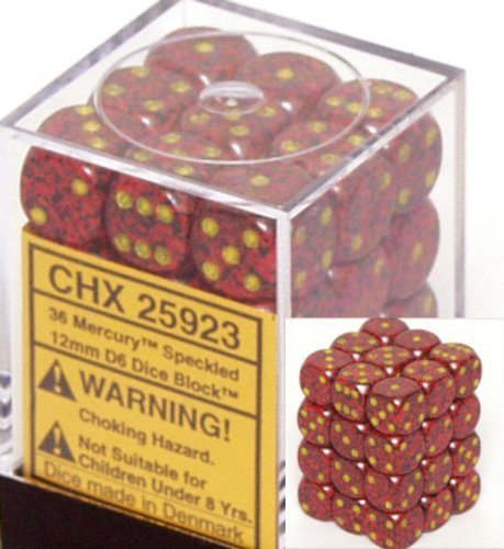 Chessex Dice d6 Sets: Mercury Speckled - 12mm Six Sided Die (36) Block of Dice