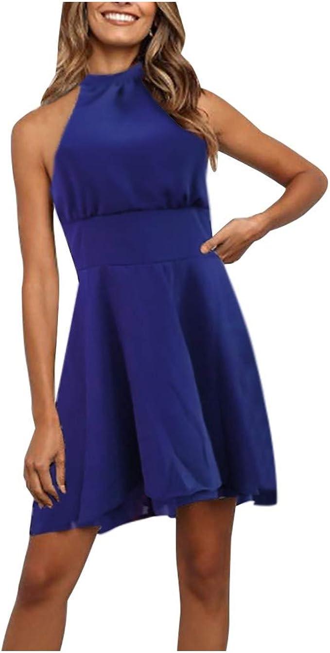 Bumplebee Neckholder Kleid Damen Kurz Einfarbig Ärmellos Casual Partykleid  Unregelmäßig Slim Minikleid Rot Tunika Kleider