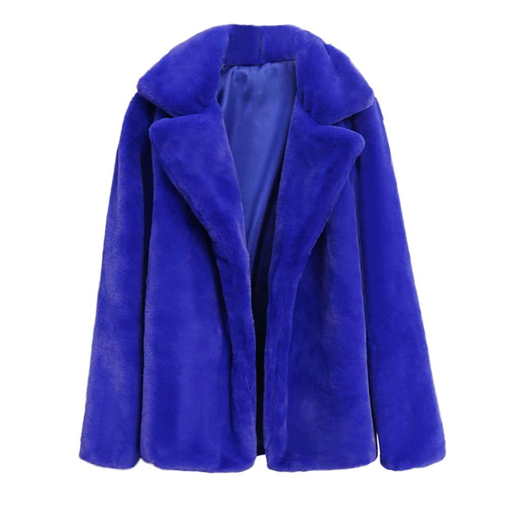 bluee Faux Fur Jackets for Women Winter Laimeng_World Women Warm Winter Coats Plus Size Overcoat