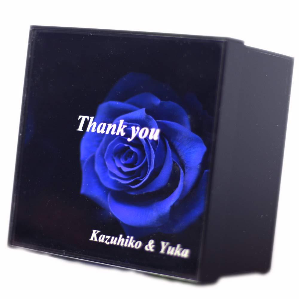 枯れない青いバラ(プリザーブドフラワー)の黒BOXギフト【オリジナルメッセージを刻印】1週間でお届け 花言葉「可能性」 B00EVMVJPS