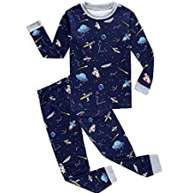 "Babylike ""spacecraft"" little boys 2 Piece Pajama 100% Cotton(Size 2-7 Years)"