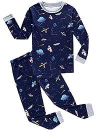 "Babylike ""spacecraft"" little boys 2 Piece Pajama 100% Cotton(Size 2-9 Years)"