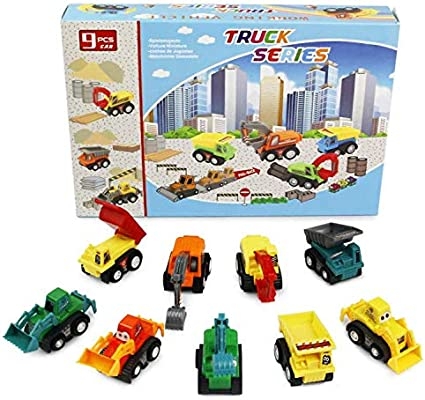 PL Coches de Juguetes Vehiculos Construccion Juguete Excavadora Juguete y Camiones Volquete y Camión Bulldozer Mini Camiones para Niños Niñas 3 4 5 Años Color al Azar (9 Pedazos)