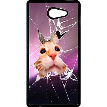 Carcasa Sony Xperia M2 gato cristal rota: Amazon.es: Electrónica