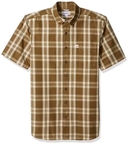 Carhartt Men's Big and Tall Big & Tall Essential Plaid Button Down Short Sleeve Shirt, Military Olive, -
