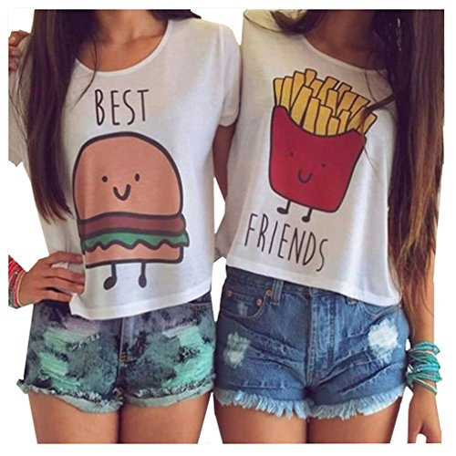 MOLFROA 2-Pack Women's Casual Cute Cartoon Best Friend Printed Crop Tops Funny Tops Tees White
