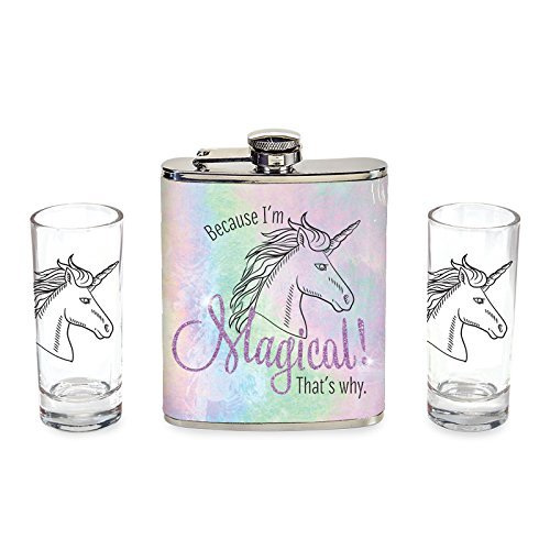 Unicorn Flask and Shot Set 3 pcs