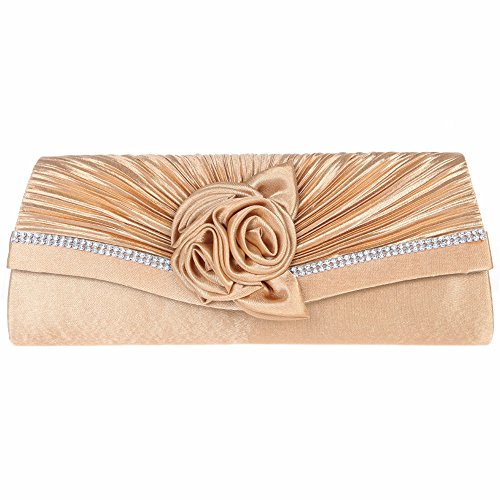 aguette handbag ladies evening party clutch bag-Gold (Satin Gold Angle)