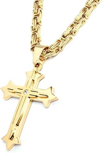 Herren Edelstahl Halskette Kreuz Anhänger silber gold schwarz + 60cm Königskette Männer Geschenk