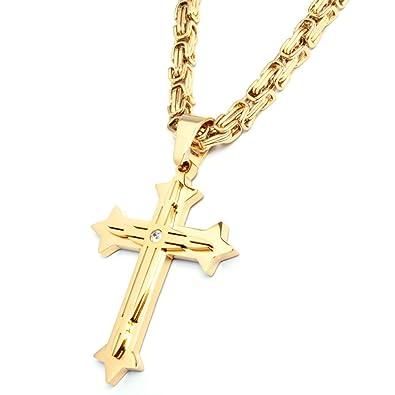 mehr Fotos Vielzahl von Designs und Farben Junge Herren Edelstahl Halskette Kreuz Anhänger silber gold ...