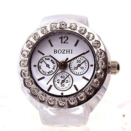 Woaills Lovers' Dial Quartz Analog Watch Creative Steel Cool Elastic Quartz Finger Ring Watch -