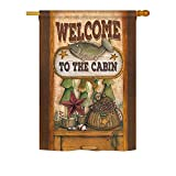 Ornament Collection H191055-BO Welcome to The Cabin Nature Farm Animals Impressions Decorative Vertical 28″ x 40″ Double Sided House Flag Printed in USA Multi-Color For Sale