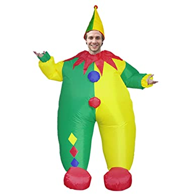 a9957e092 Amazon.com: Adult Clown Inflatable Costume Halloween Carnival Giant  Hilarious Cosplay Toy Welcome Prop: Clothing