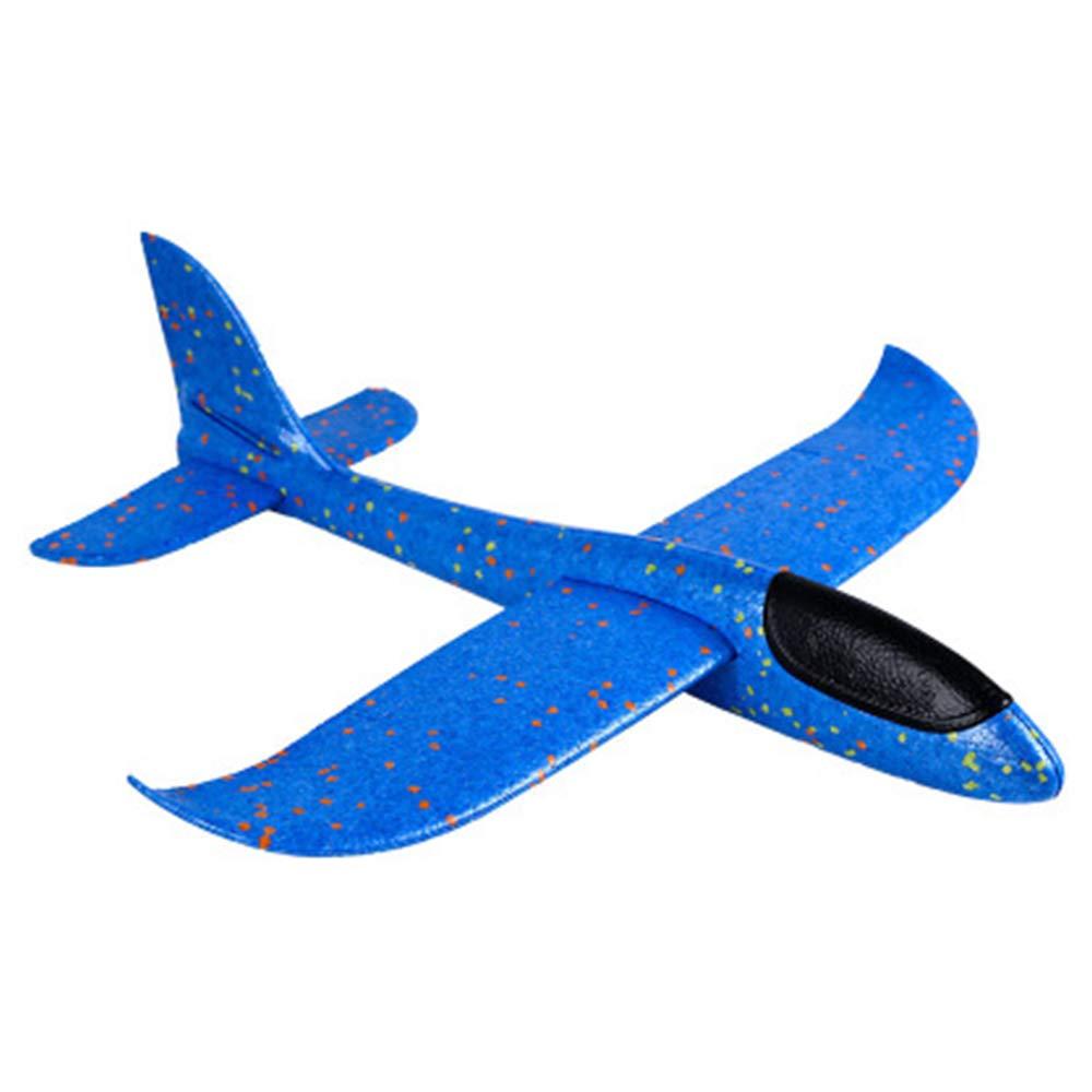 OurLeeme Schiuma Aereo Giocattolo 48 cm LED Lancio Aereo Aeroplano Divertente Mano Lancio Aereo per Bambini Bambini Ragazzi Ragazze Blu